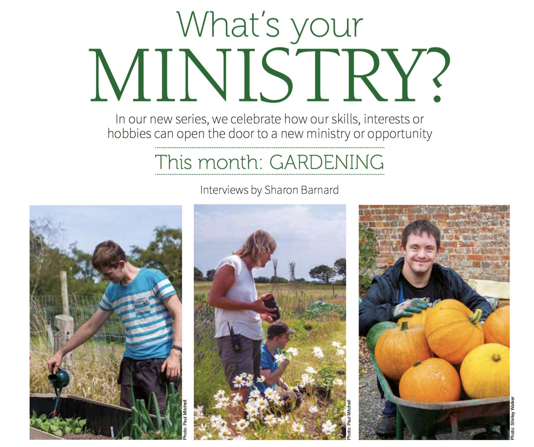 What's Your Ministry? – WomanAlive July 2016